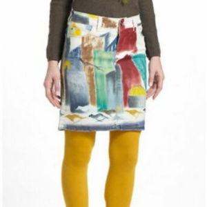 Anthropologie Pencil Skirt Abstract Handpainted